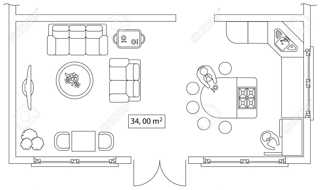 Conjunto Arquitectónico De Muebles. Los Elementos Interiores De La ...