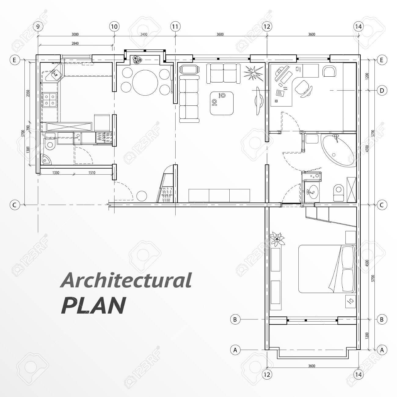 Insieme architettonico di mobili sul piano appartamento con dimensioni.  elementi di design d\'interno di casa, cucina, camera, bagno. Icone linee ...