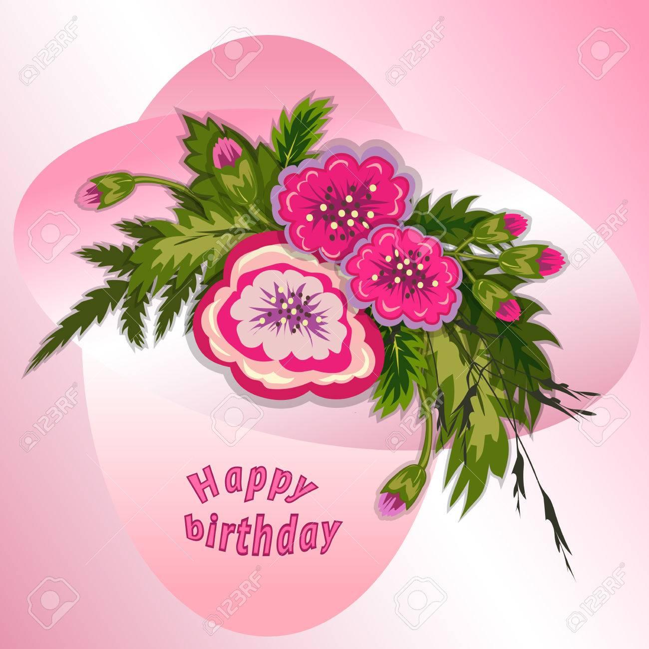 Composicion Floral Ramo De Flores De Color Rosa Sobre Fondo Rosa