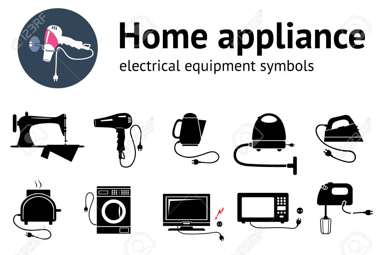 Electrical Appliance With Plug Equipment Icon Set Hairdryer