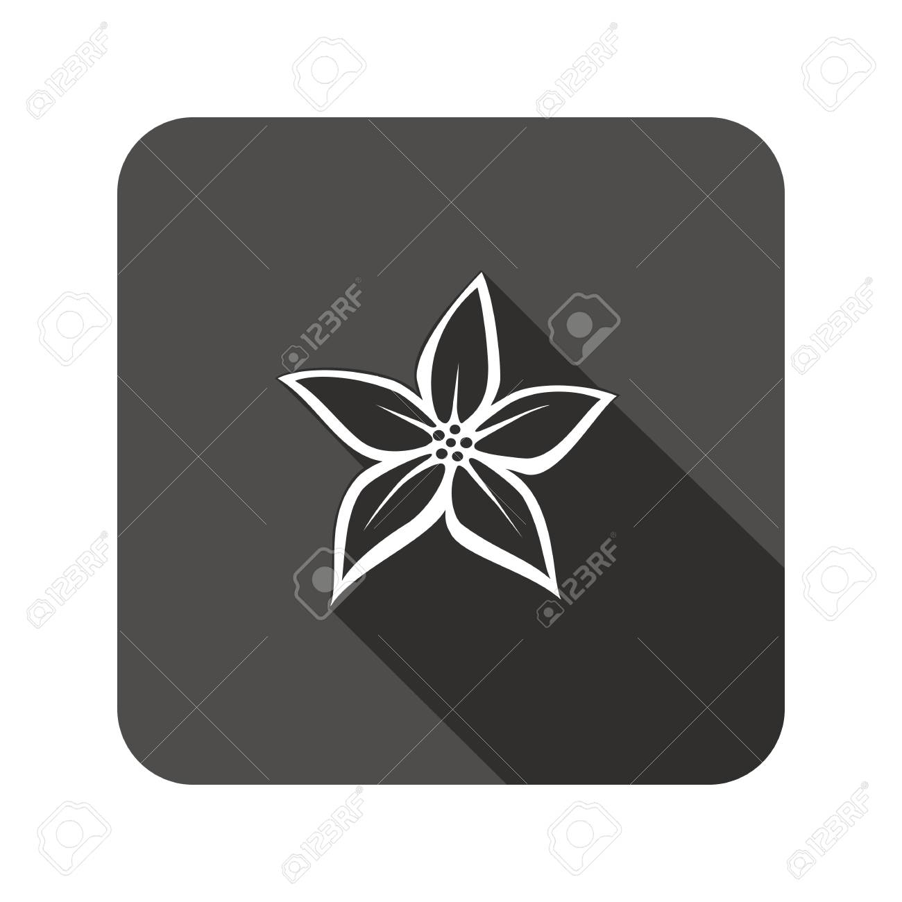 Lily flower icons floral symbol rounded square flat icon with lily flower icons floral symbol rounded square flat icon with long shadow vector izmirmasajfo