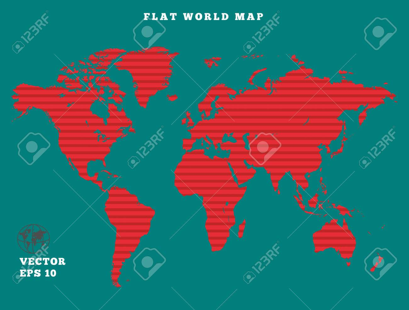 World map striped red map silhouette on turquoise background vector world map striped red map silhouette on turquoise background sunrise theme design vector isolated gumiabroncs Images