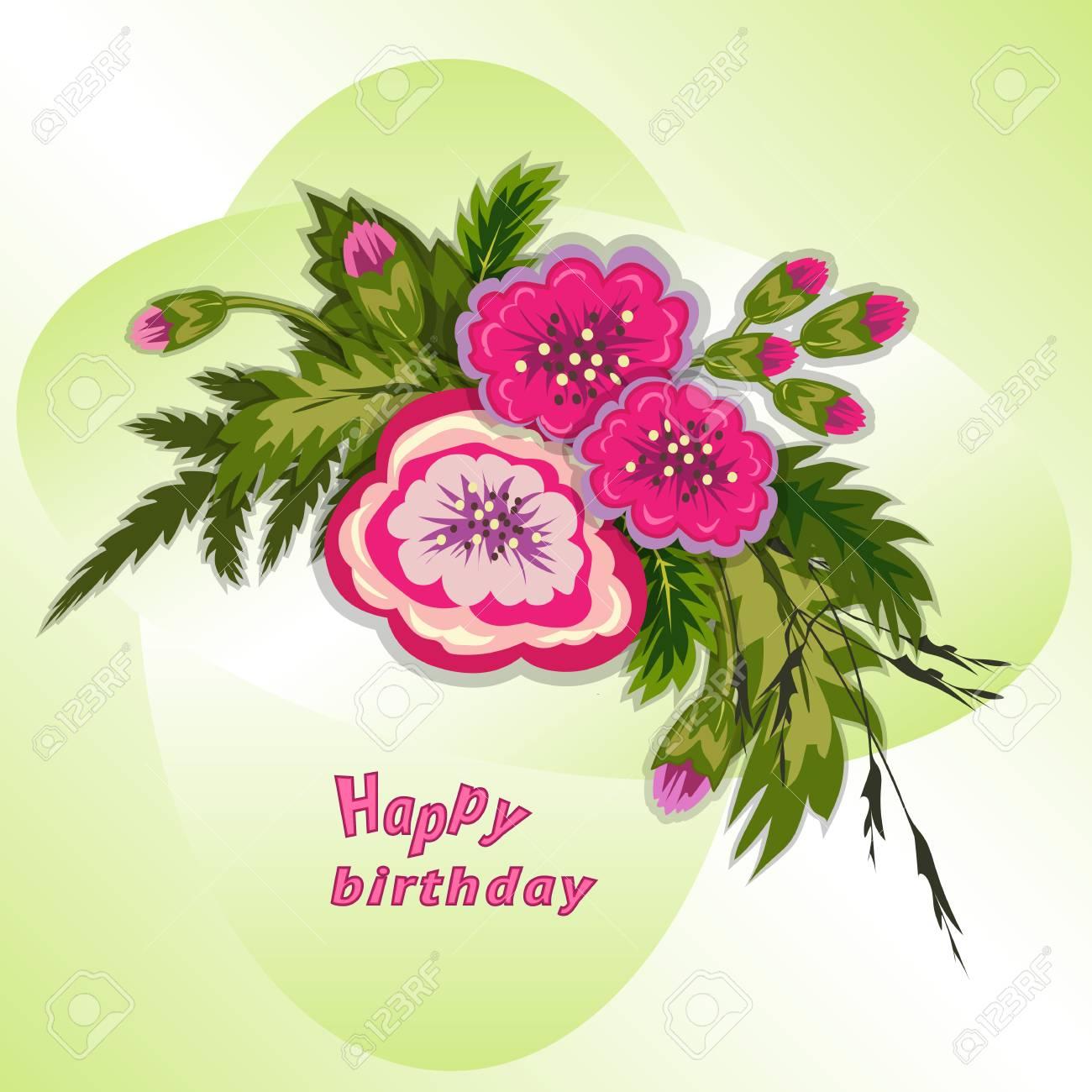 Composition Florale Bouquet De Fleurs Sur Fond Vert Tendre Modèle De Joyeux Anniversaire Pour Femme Carte De Voeux Illustration Vectorielle