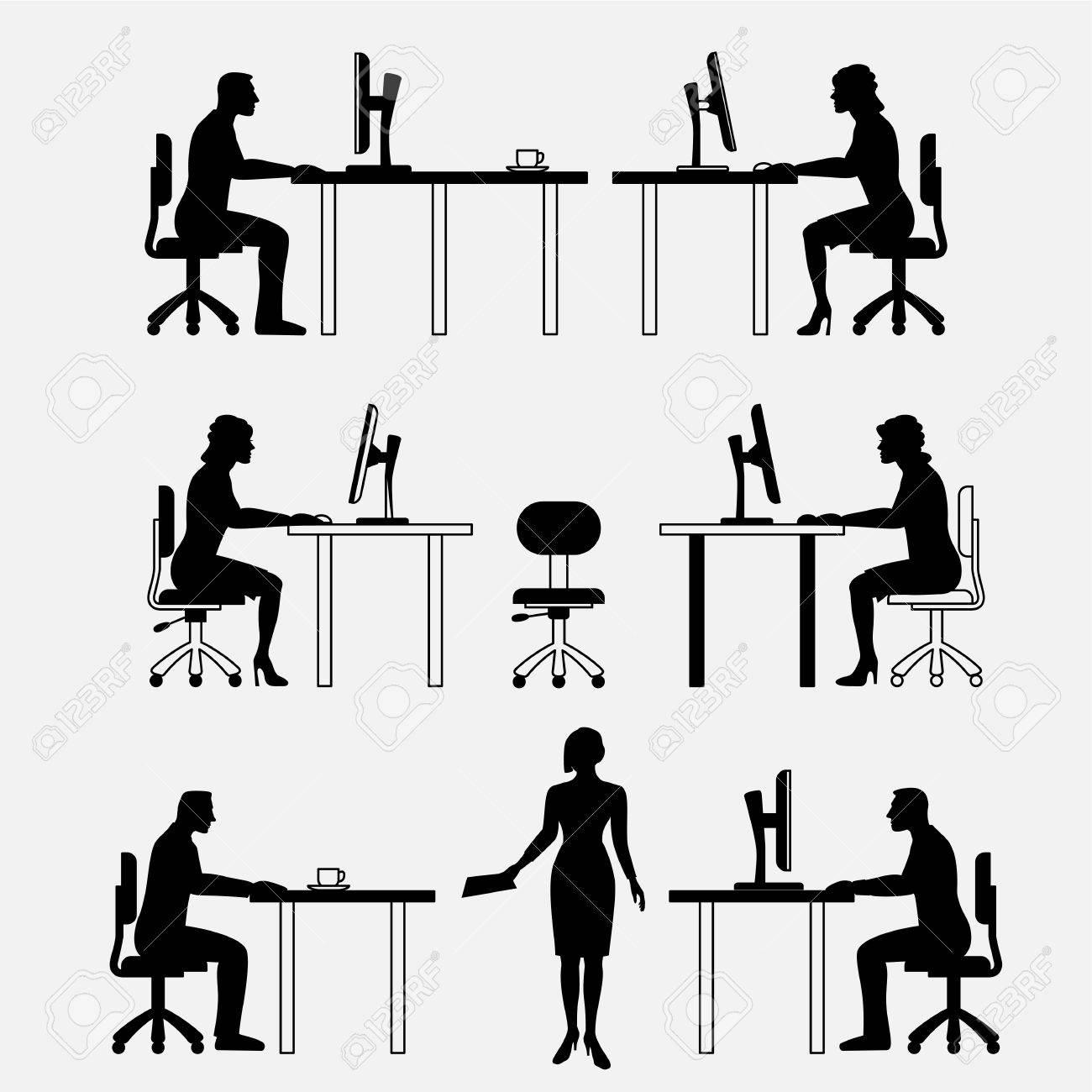 Architektonische Reihe Von Möbeln Mit Den Menschen. Sitzen Ein Mann ...