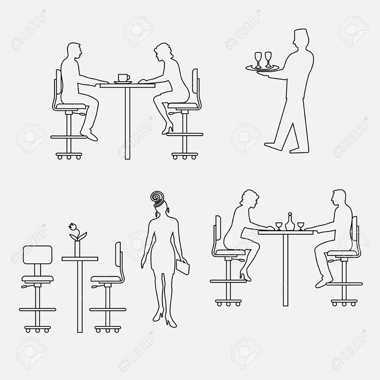 Architectural Set Of Furniture With People Sitting Man Woman  # Schema De Meuble Dimension