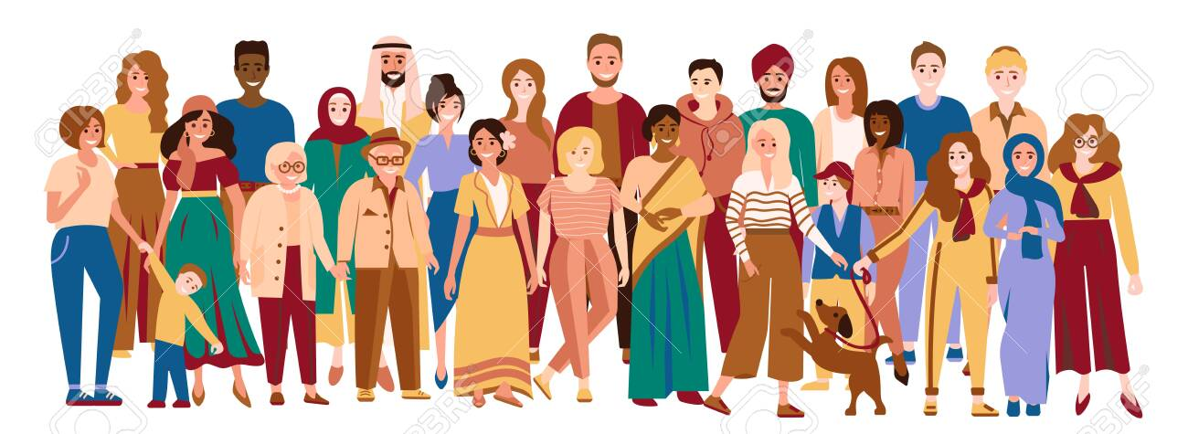 Multiracial men and women. Happy multicultural people. Diverse group of multiethnic people. Young, adult and elder men, women and children. Social diversity. Vector illustration isolated on white - 148037087
