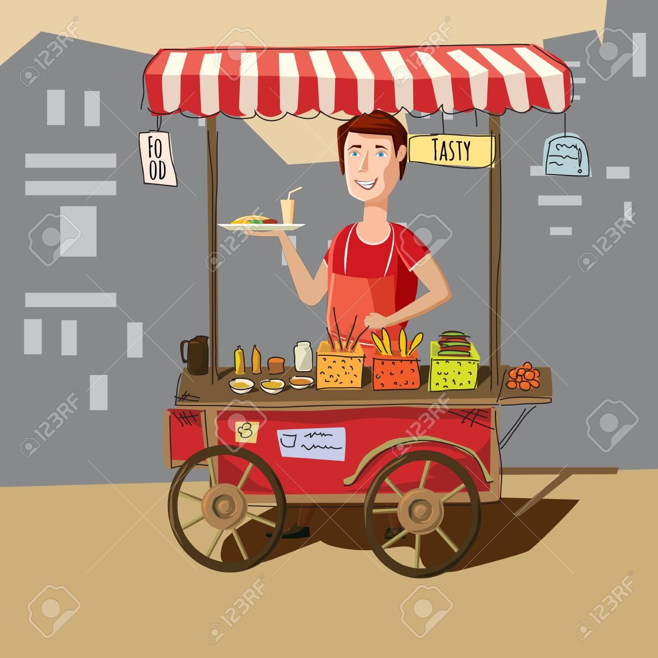 Street food truck street vendor in cartoon style vector illustration. - 75847261
