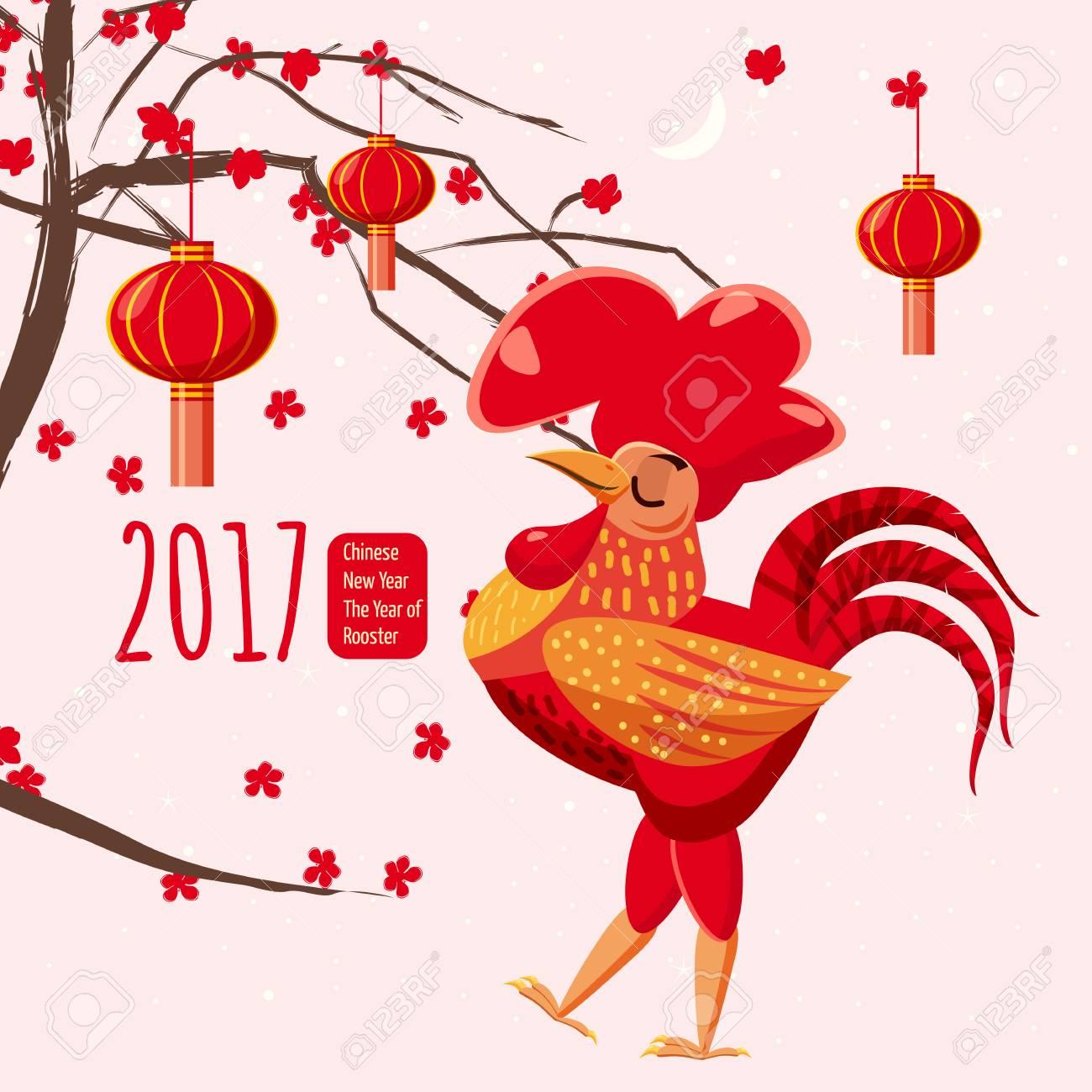 Chinesisches Neujahr, Hahn, Hintergrund Chinesische Landschaft ...