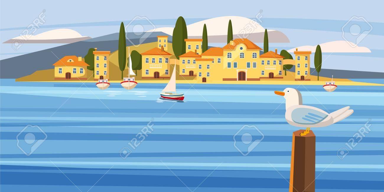 Sea Mediterranean city, coast, boat, sailboat, seagull, cartoon style, vector, illustration - 77525662