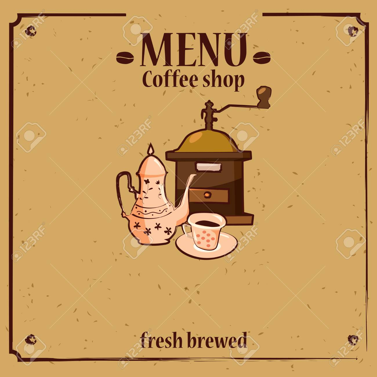 Coffee Menu Template For Shop With Grinder Pot Cup Cartoon