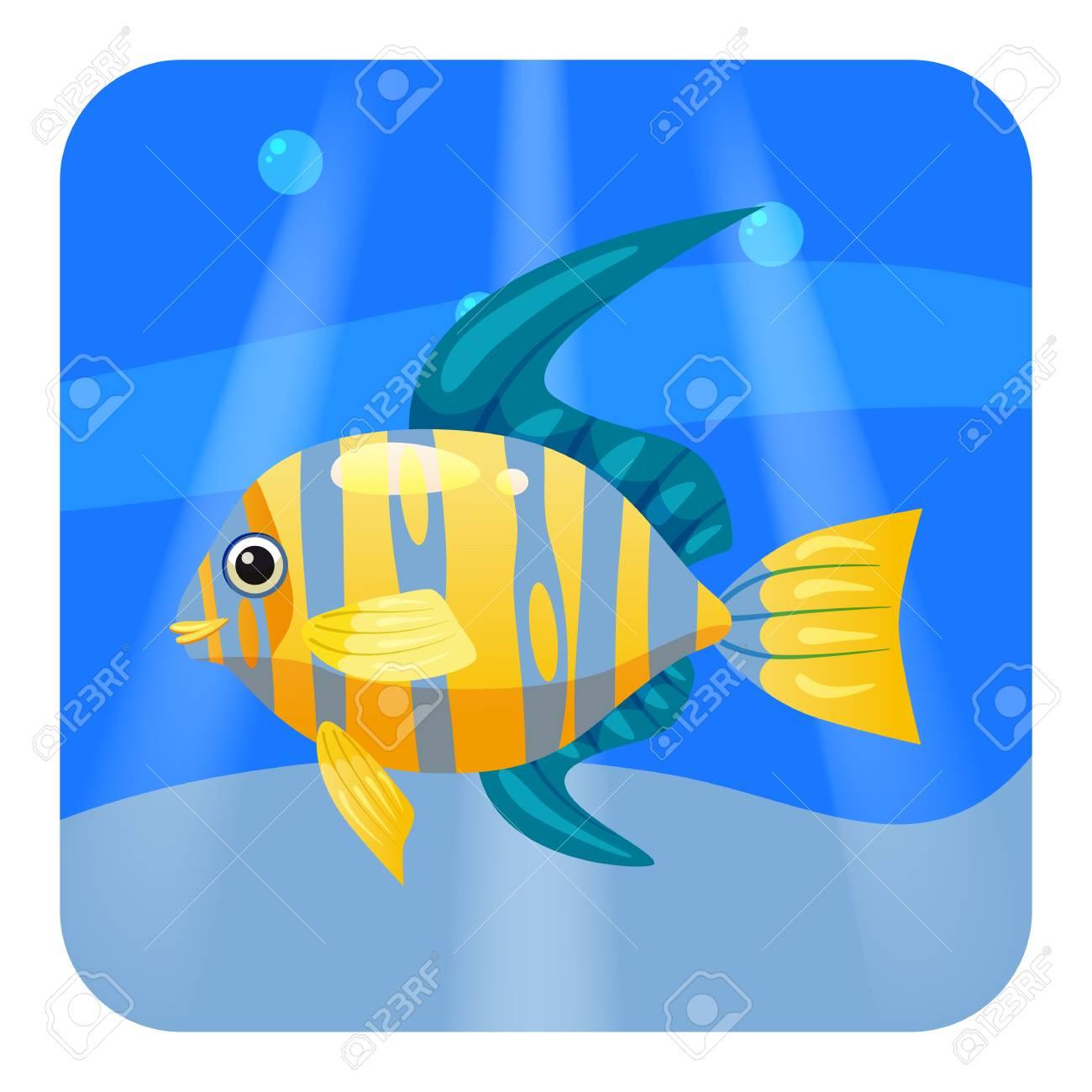 Cute Beautiful Tropical Fish On Sea Background Ocean Vector