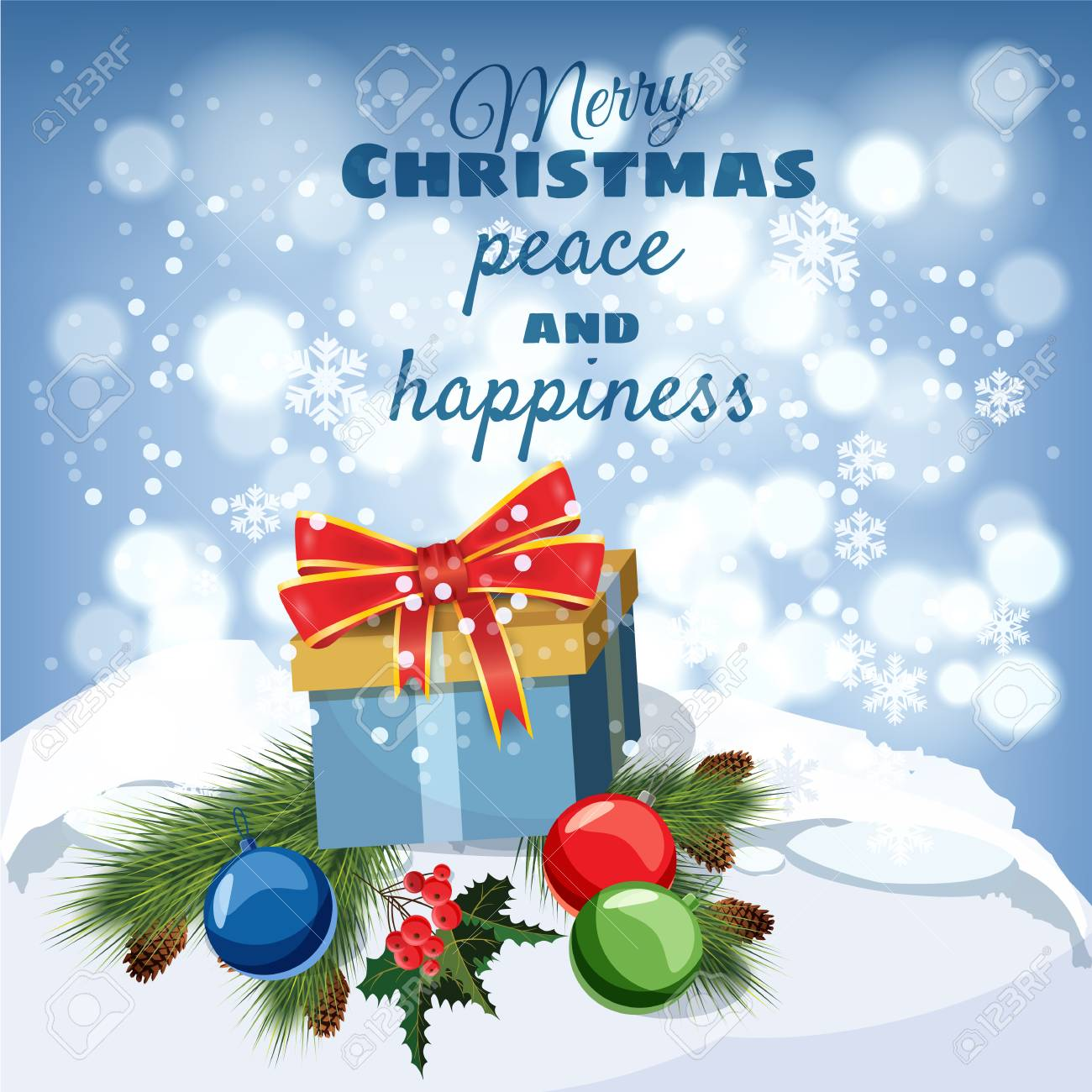 Merry Christmas Greeting Card Old Table Covered With Snow Gift