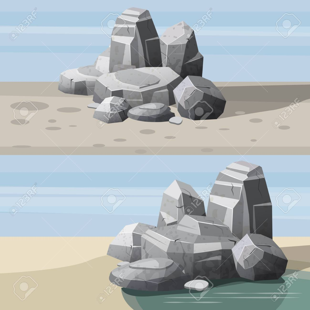 Rocks and stones single or piled for damage and rubble for game