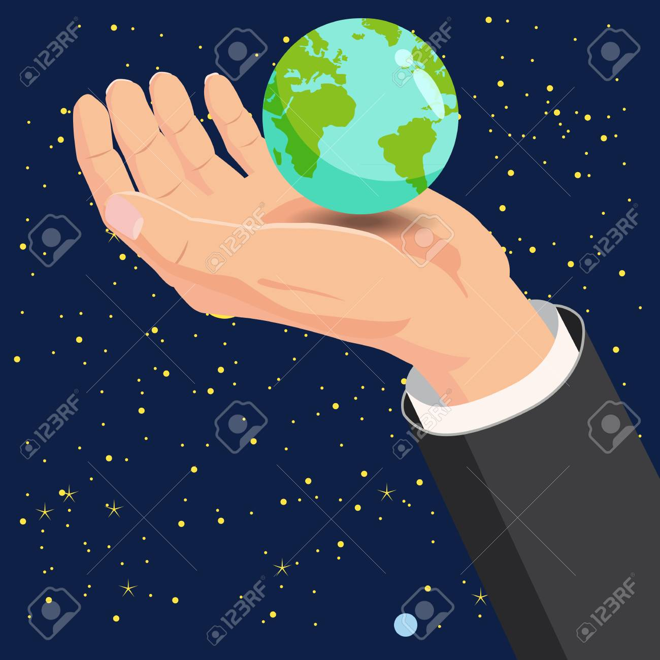 Hand holding Earth globe in space vector illustration, Cartoon