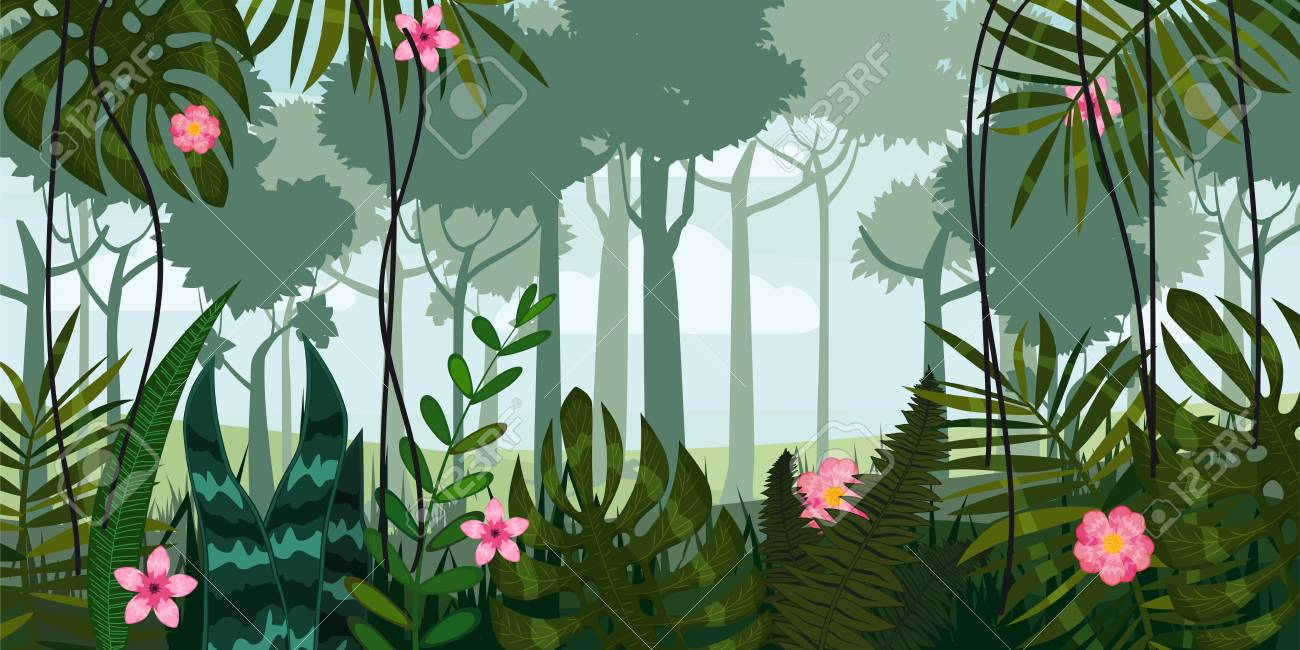 Jungle Forest And Flowers Trees Leaves Flowers Parallax Royalty