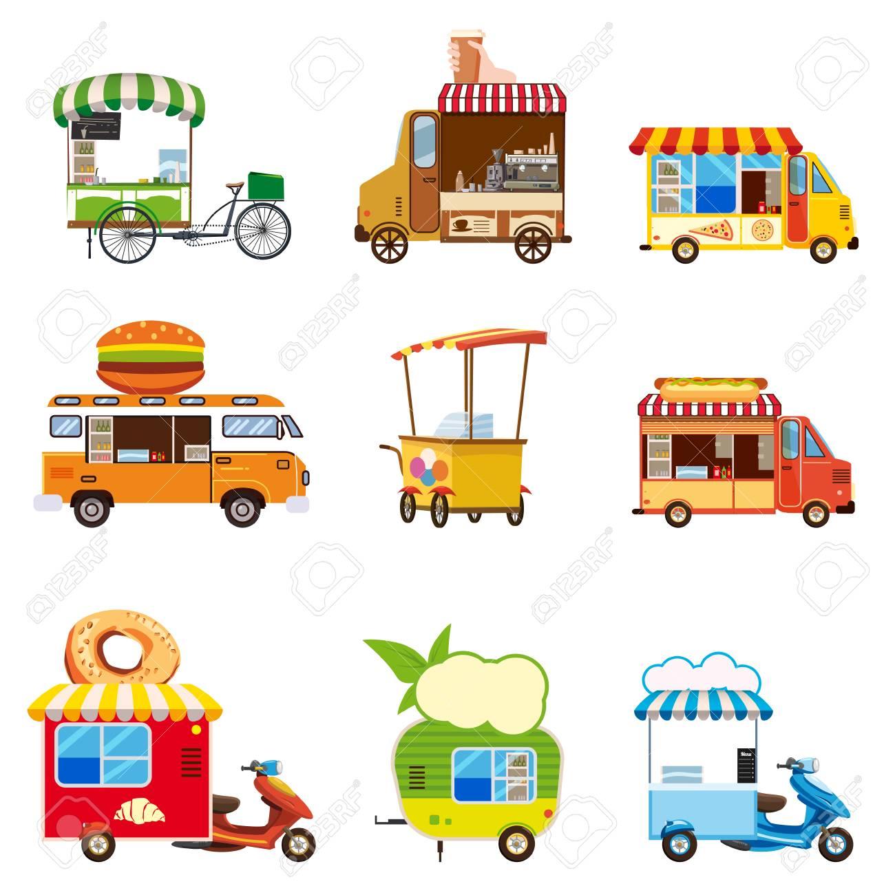 Set of street food car vehicles, buses, trucks, kiosks, pizza, BBQ, ice cream, vegan food, hot dog, baking, vector, illustration, isolated, cartoon style - 121565074