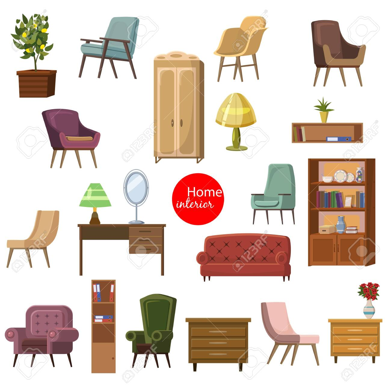 Set Of Accessories And Furniture Armchairs Of Different Types Royalty Free Cliparts Vectors And Stock Illustration Image 121565282