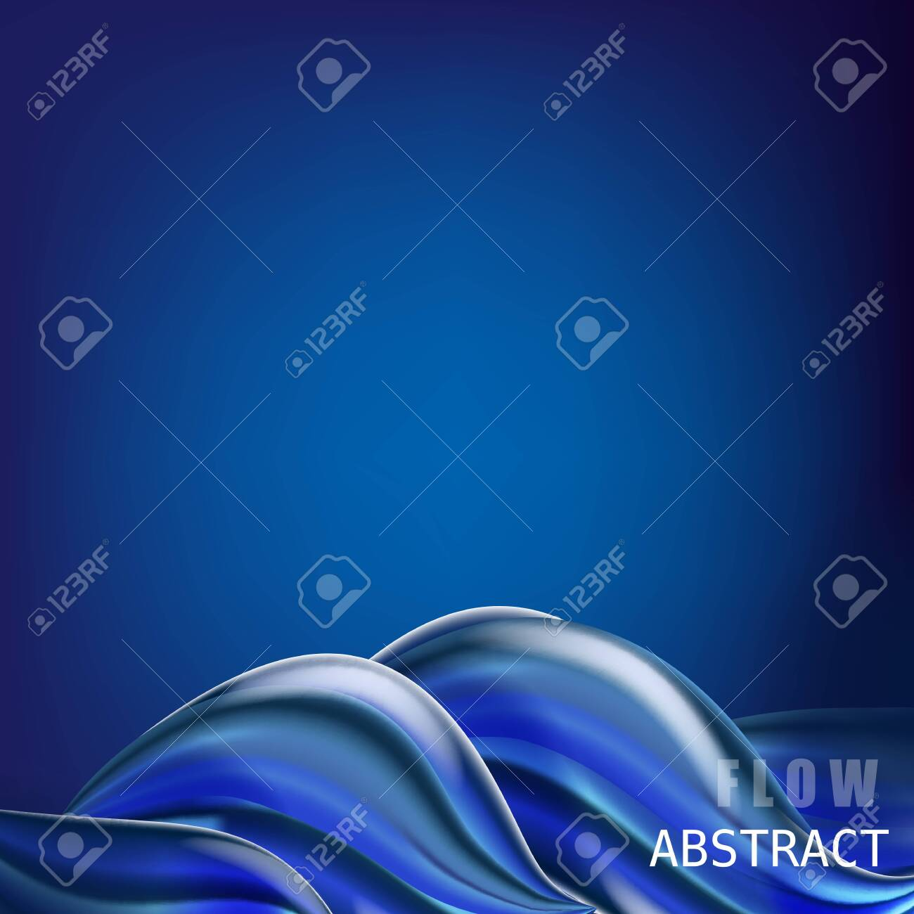 Trendy abctract colorful flow poster, baner, template. Wave Liquid shape in blue color - 128097609