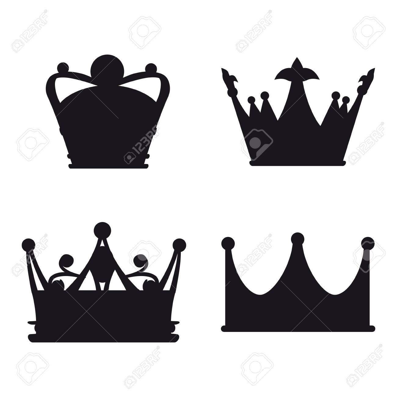 Set Crown Icon Royal, luxury symbol King, Queen. Vector illustration logo, app, UI isolated - 135009950