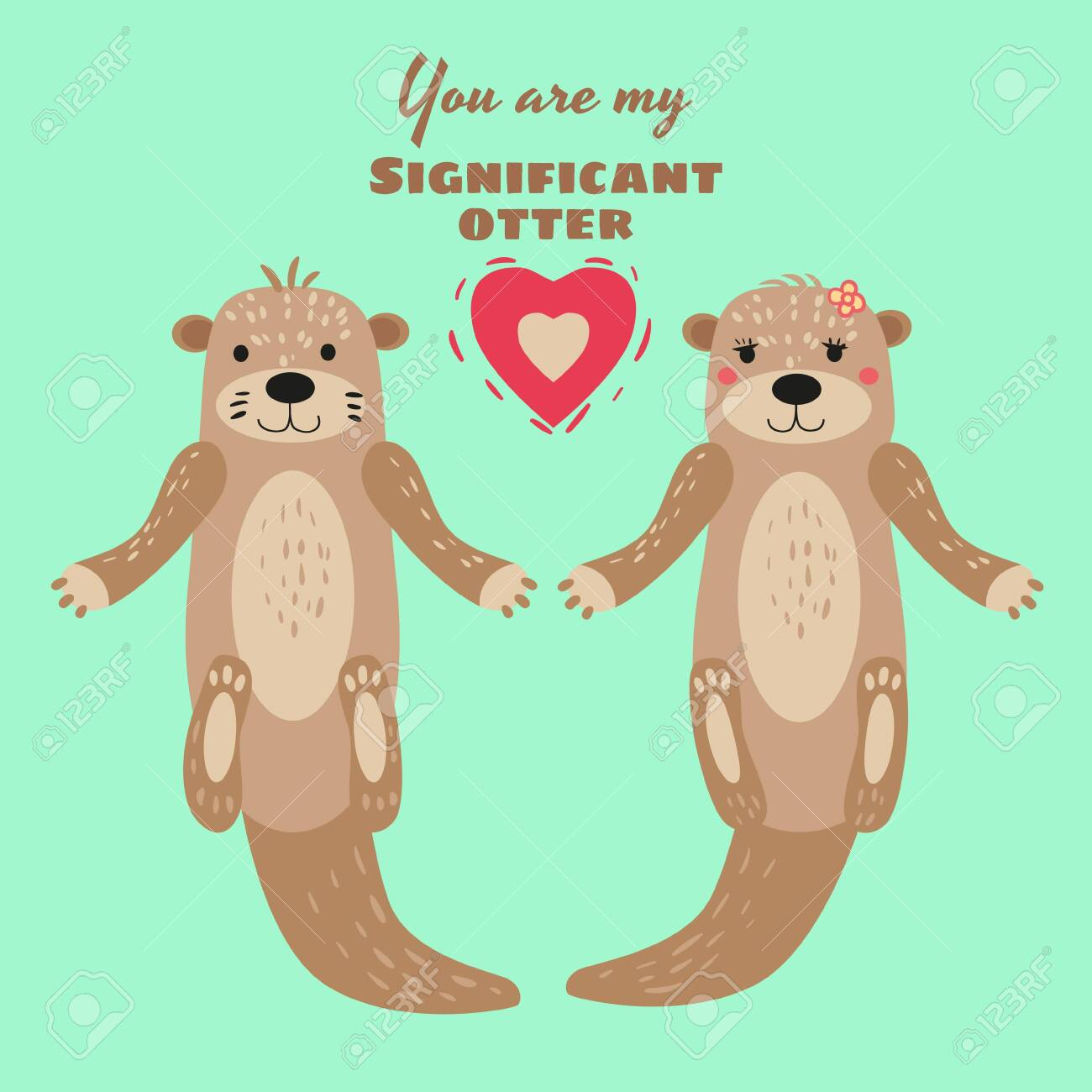 Thank you Otter couple hand drawn gift card Note card Birthday card Sweet otters holding hands greetings card Animal Valentines card
