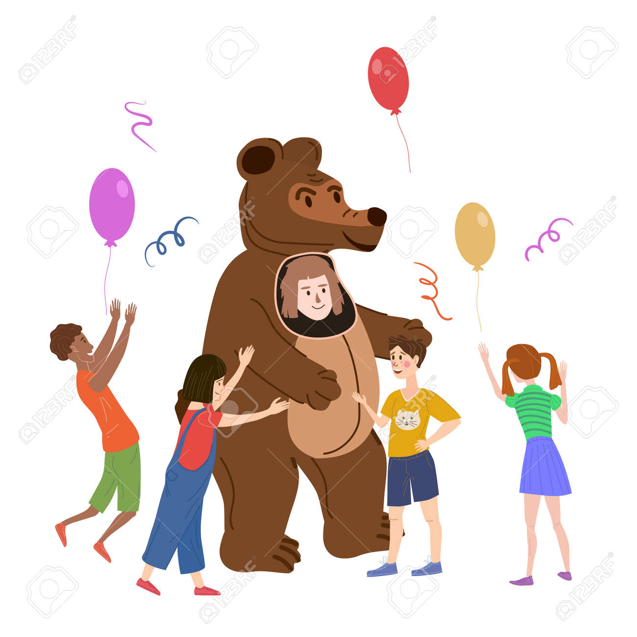 Holiday party actor entertainer wearing in costume Bear, play with kids. Performance Birhday Carnaval Party, group children with adult animator. Vector cartoon flat style illustration isolated - 161998867