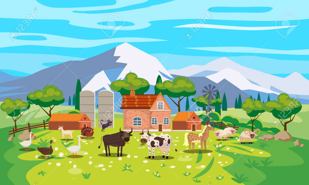 Rural Landscape farm scenery view, mountaines, green meadow, flowers, trees. Countryside nature, farm animals cow, sheeps, horse, bull, goose, duck, goat, buildings. Vector illustration - 169752959