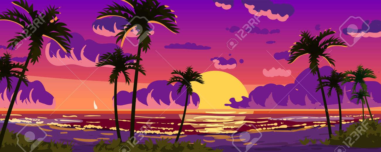 Sunset Ocean Tropical resort landscape panorama. Sea shore beach, sun, exoti csilhouettes palms, coastline, clouds, sky, summer vacation. Vector illustration cartoon style - 171108524