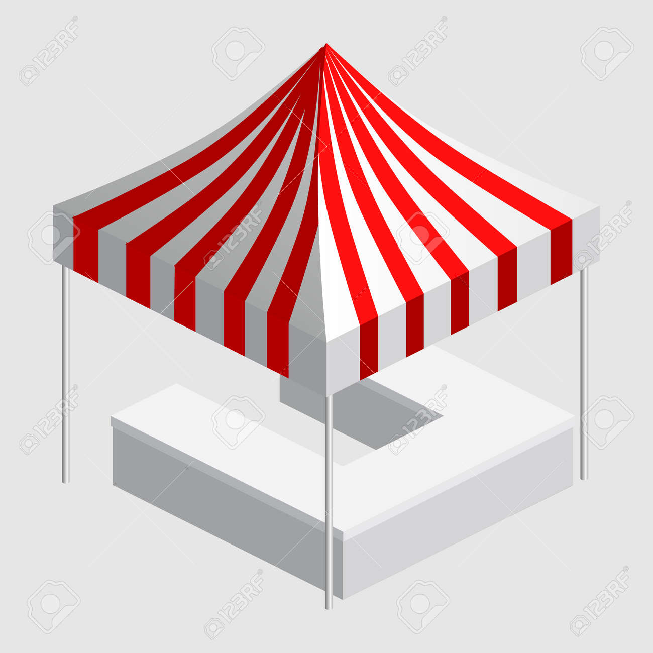 Isometric market stall, tent. Street awning canopy kiosk, counter, white red strings for fair, street food, market, grocery goods. Vector isolated - 171221052