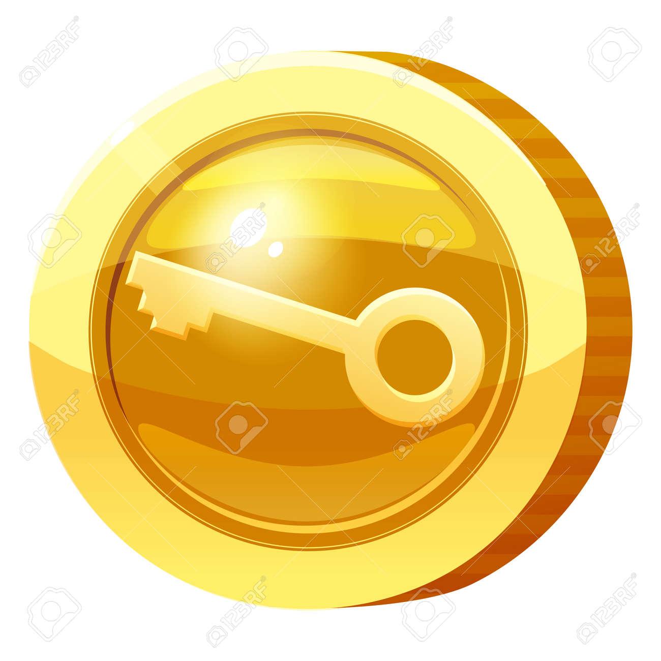 Gold Medal Coin Key symbol. Golden token for games, user interface asset element. Vector illustration - 171350241