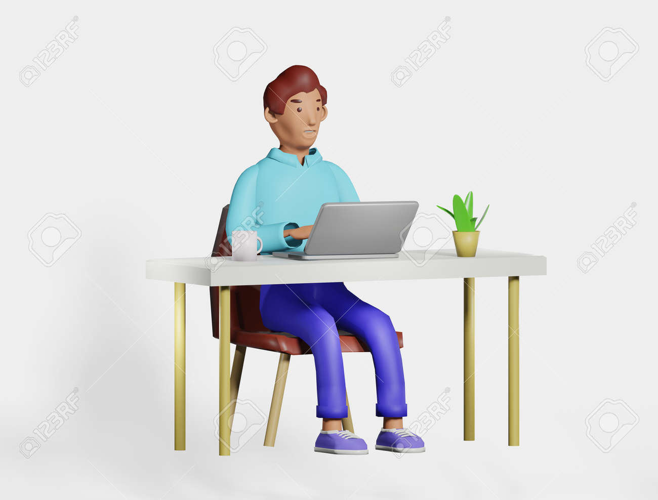 Illustration 3D character man at the desk office, home working using laptop.Smiling character freelancer, businessman working, cartoon style render - 171446628