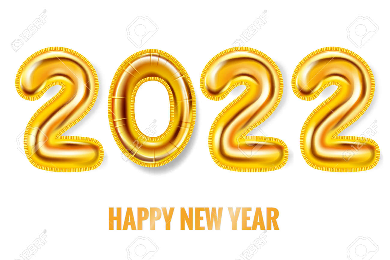 2022 Happy New Year Gold balloons. Gold foil numerals, poster, banner. Vector realistic 3D illustration - 171502146