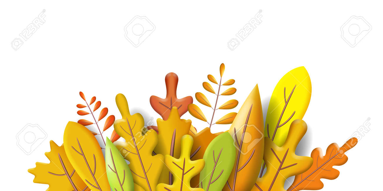 Autumn leaves 3D yellow, red, brown, orange colors. Fall bouquet. Minimal 3d render plasticine, vector illustration banner, poster - 171597483