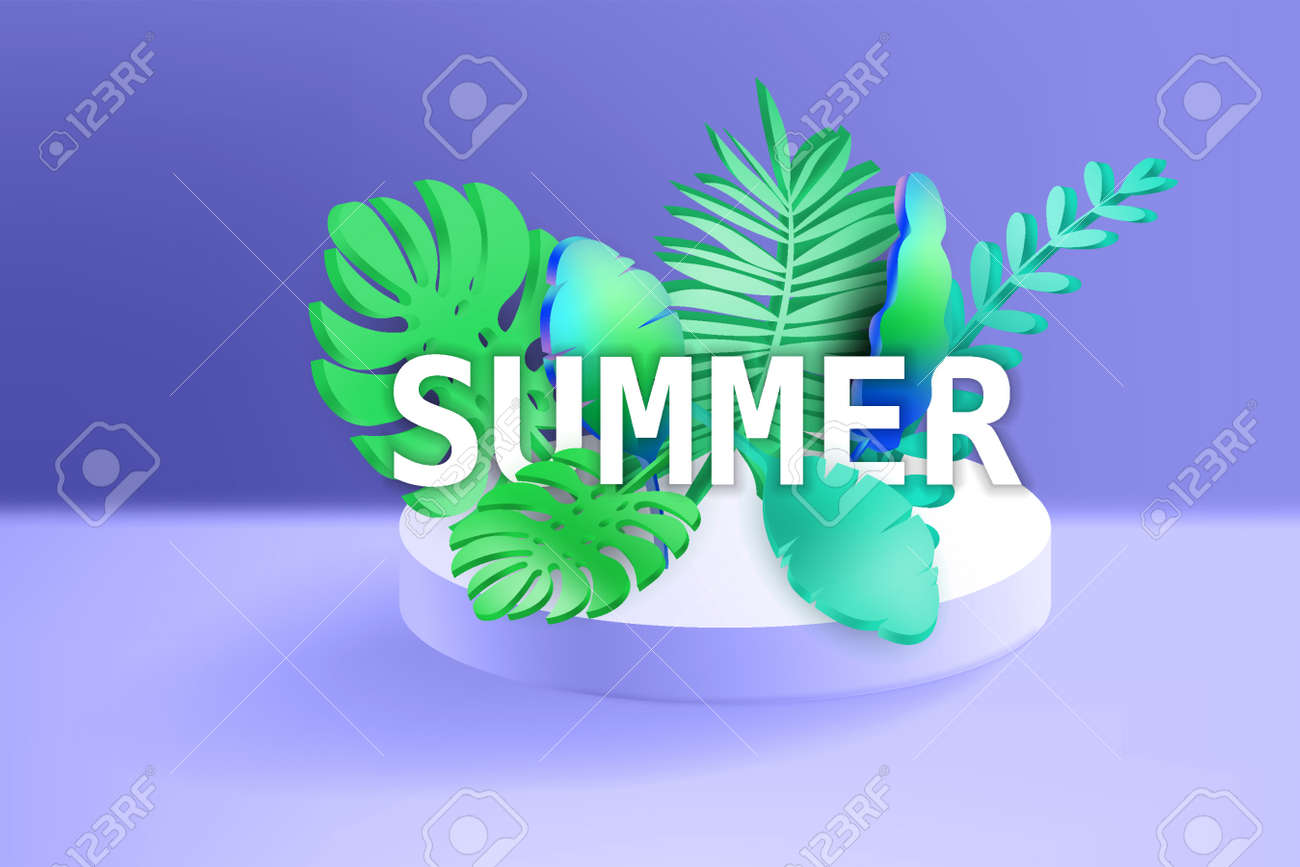 3D Tropical leaves scene podium with text Summer, botanical background. Render vector foliage pedestal, stage illustration template - 171582976
