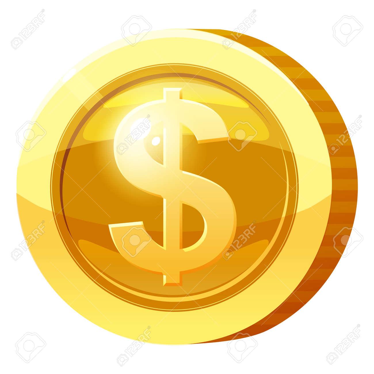 Gold Medal Coin Money symbol. Golden token for games, user interface asset element. Vector illustration - 171629483