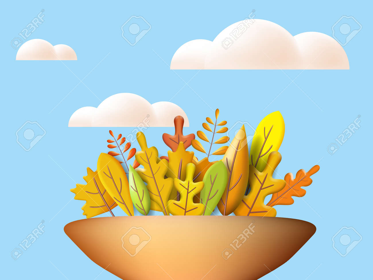 Autumn leaves 3D yellow, red, brown, orange colors. Fall bouquet in vase, white cloud. Minimal 3d render plasticine, vector illustration banner, poster - 171667921