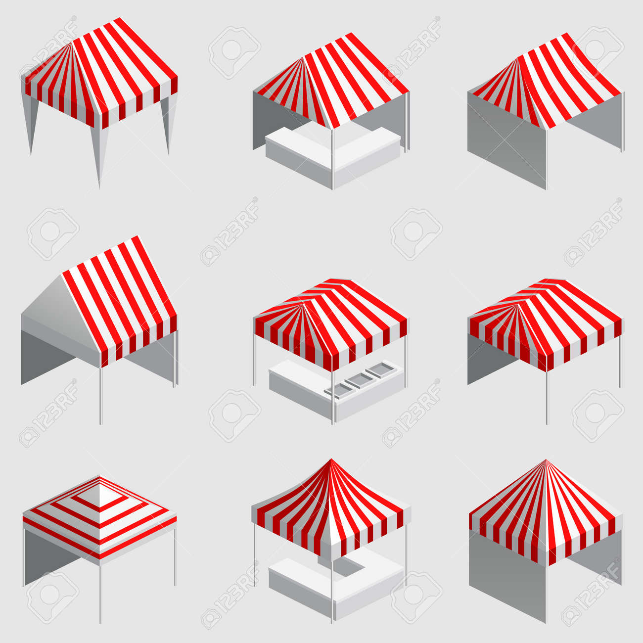 Set Isometric market stall, tent. Street awning canopy kiosk, counter, white red strings for fair, street food, market, grocery goods. Vector isolated - 171660275