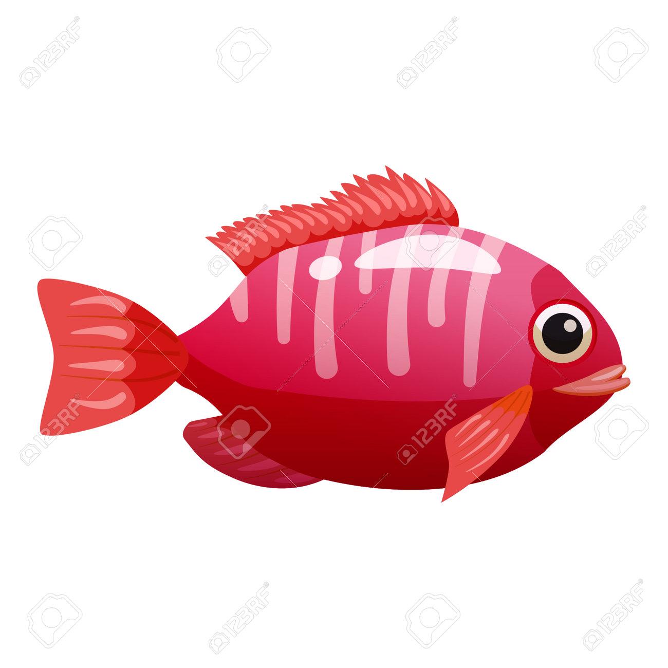 Tropical red fish, coral reef exotic pet animal. Aquarium sea life, vector illustartion cartoon style - 171709980