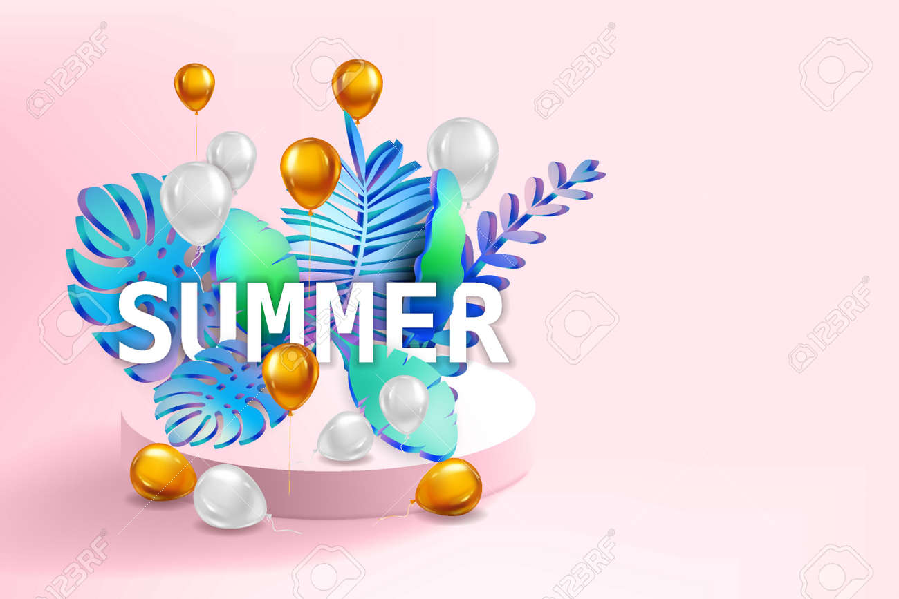 3D Tropical leaves scene podium with text Summer, balloons gold and white, botanical background. Render vector foliag,e pedestal, stage illustration template - 171832826