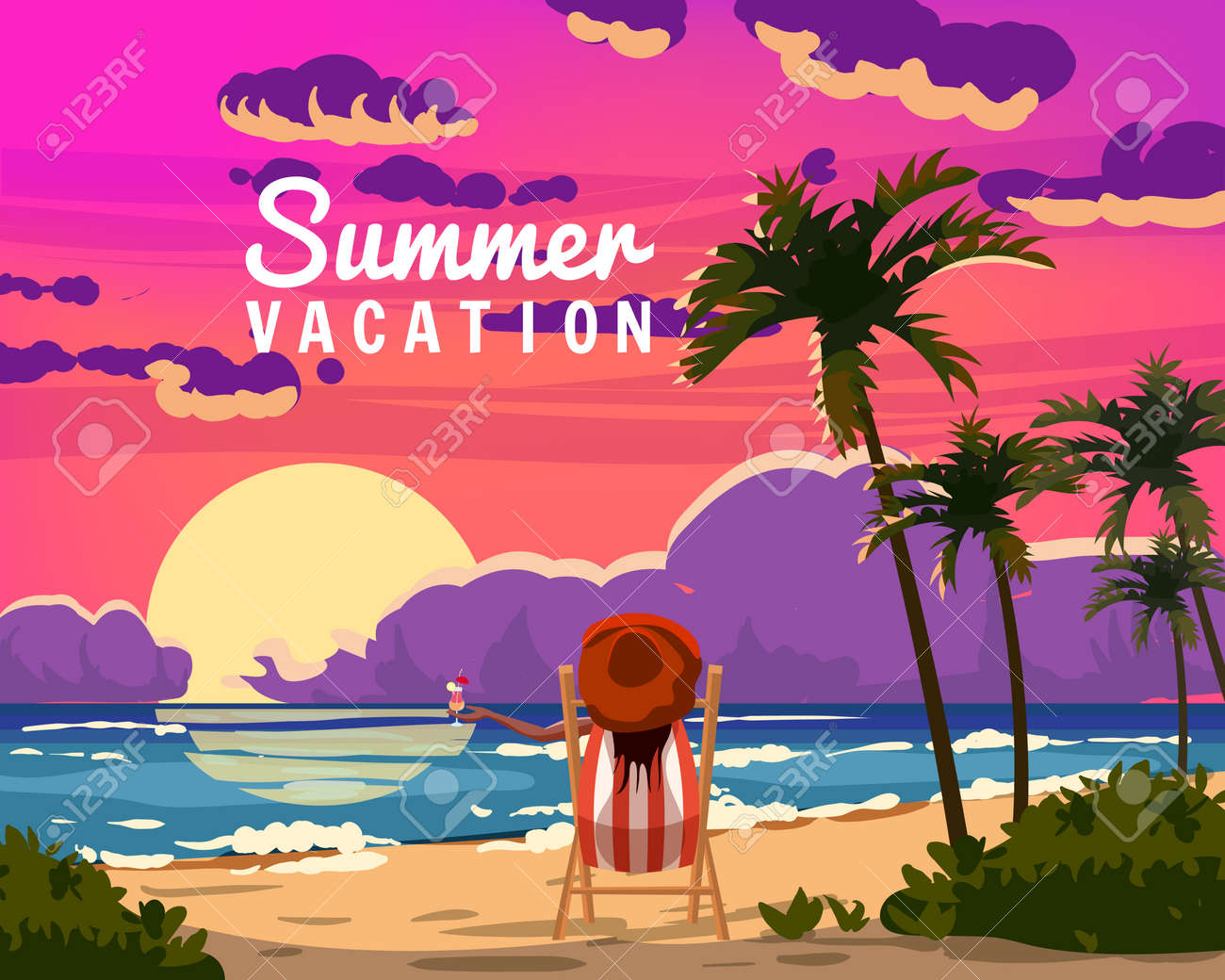 Summer Vacation Woman lying on deck chair with cocktail in hand, resort tropical coast. Exotic sea ocean sunset shore sand, palms. Vector illustration retro vintage poster - 171845367