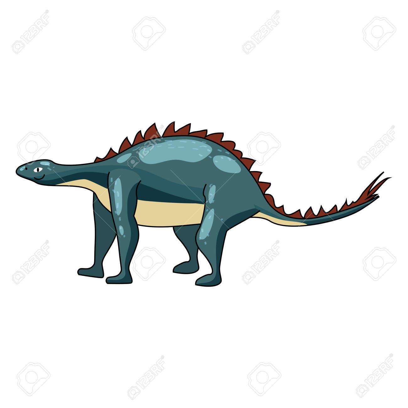 Funny prehistoric Stegosaurus dinosaurus. Ancient wild monsters reptiles cartoon style. Vector isolated - 171875855