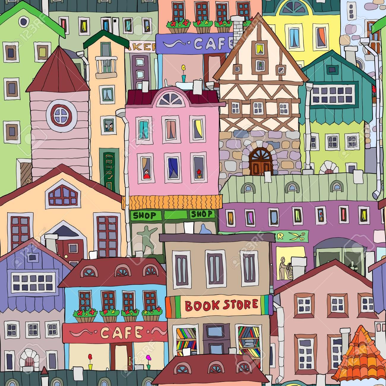 Фото с рисованными домами