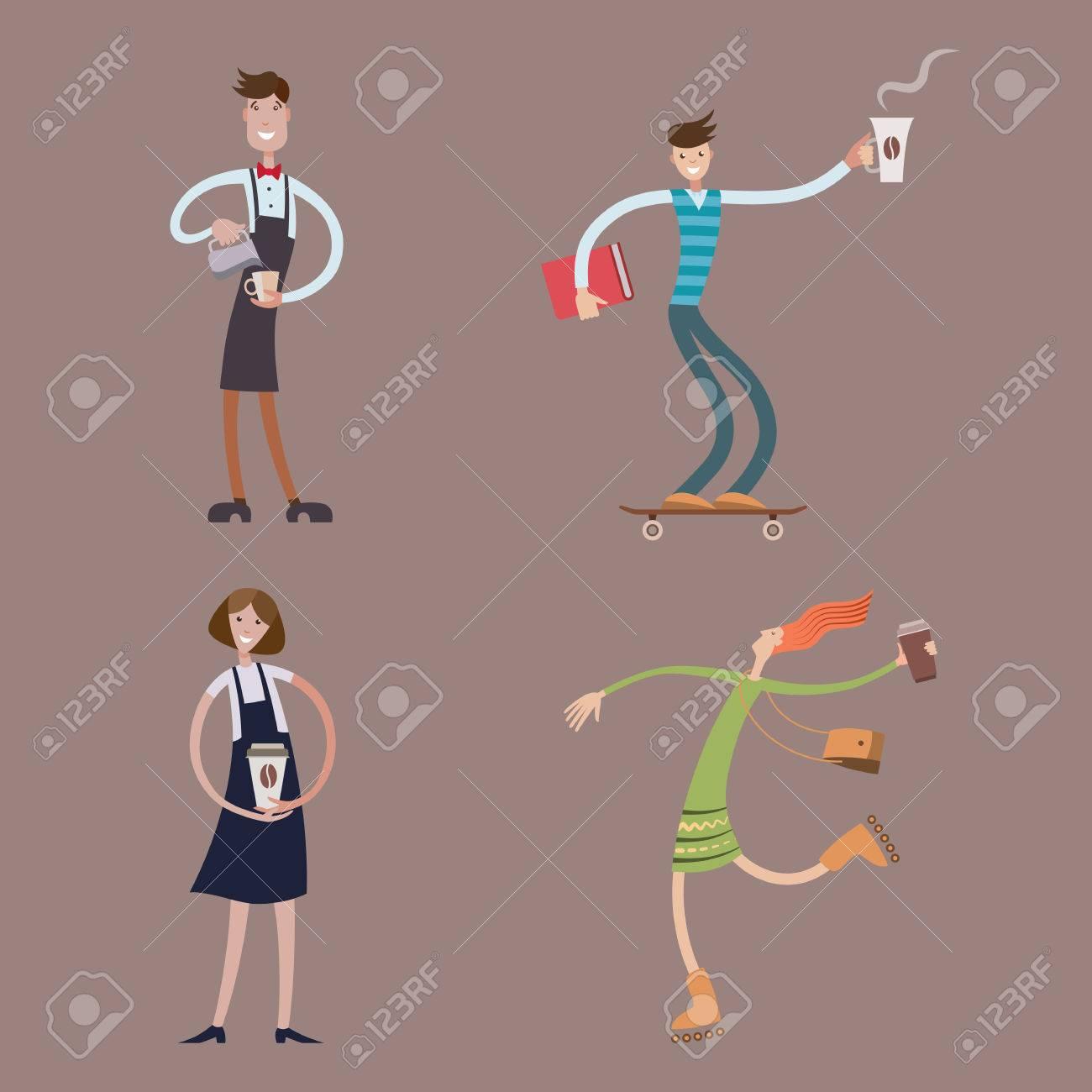 Vettoriale ragazzi e ragazze con tazze di caffè personaggio dei