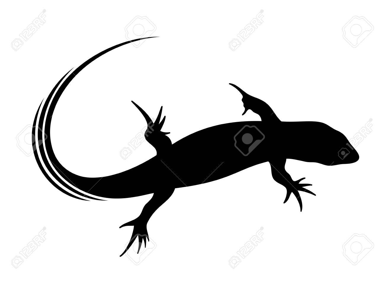 vector illustration of abstract lizard in black color royalty free
