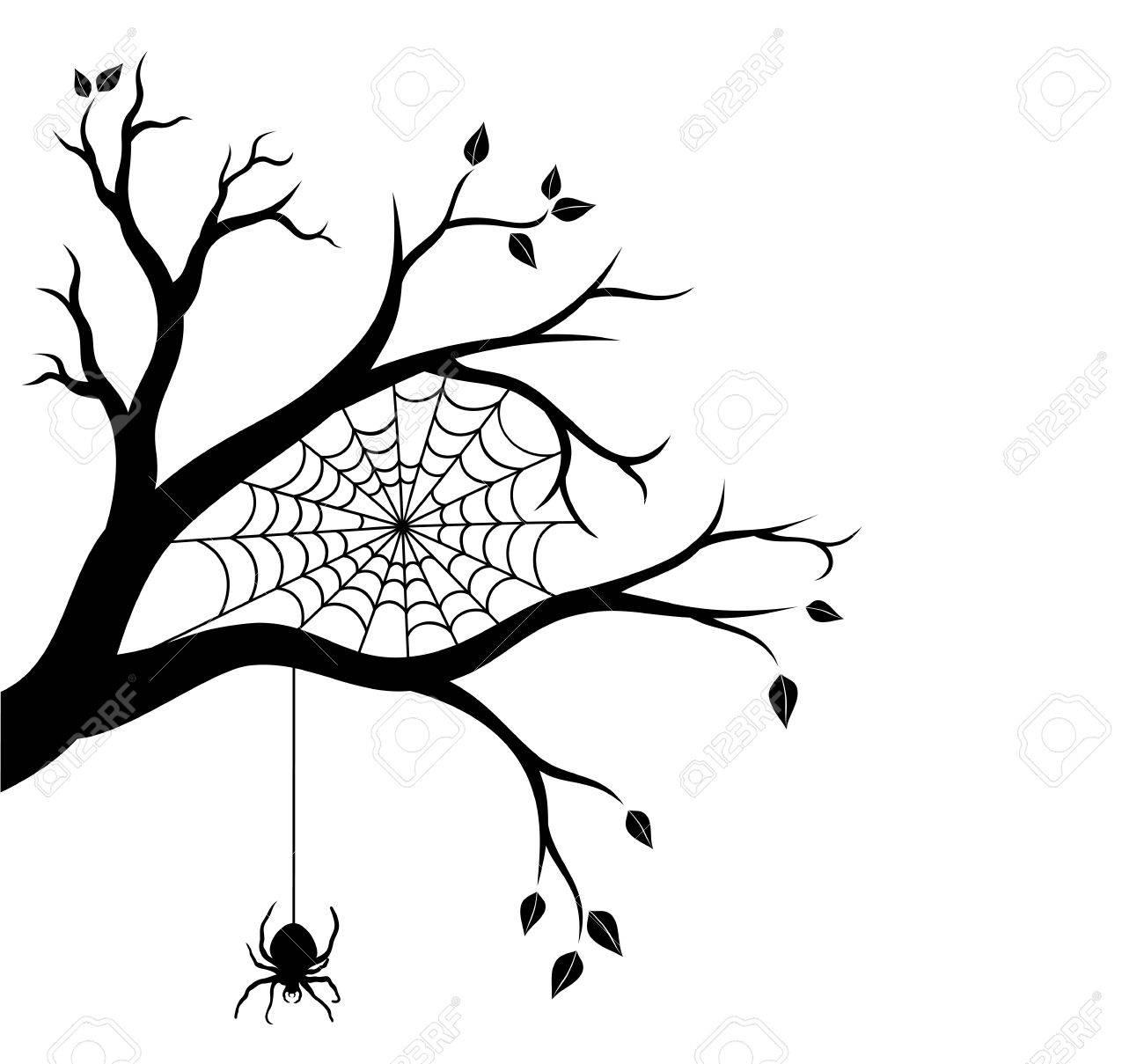 Halloween Arbre Branche Et Toile D Araignée Vector Illustration