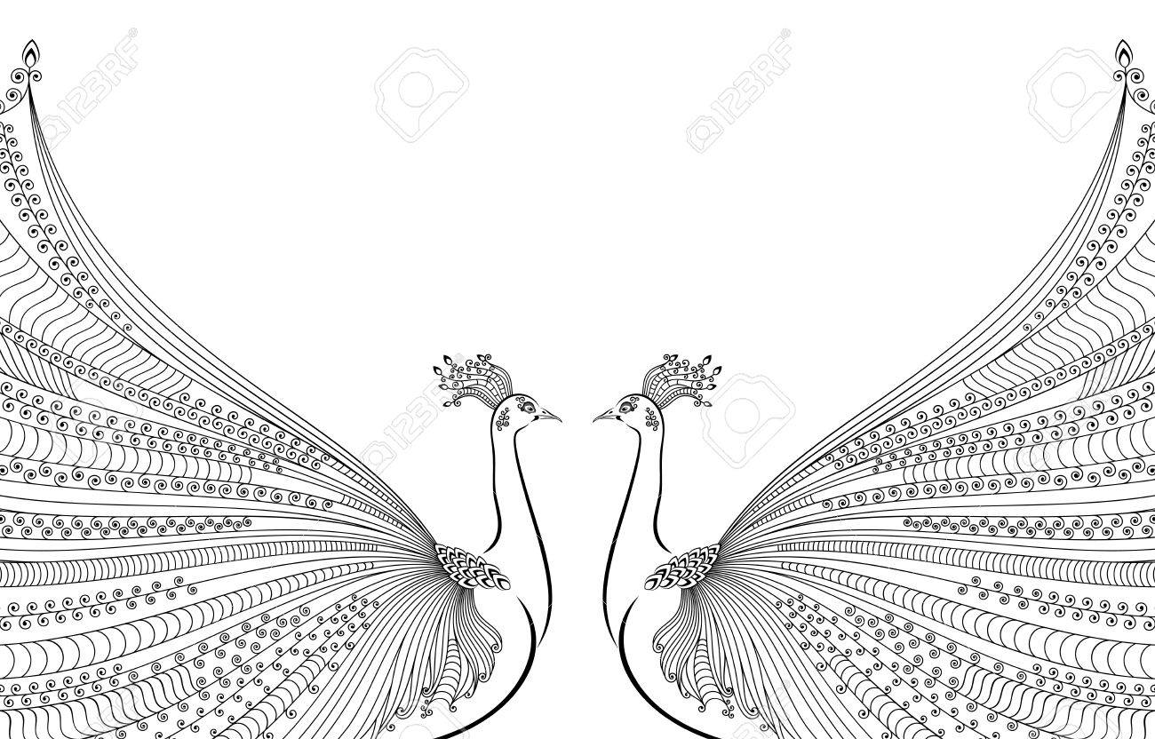 Illustration of two abstract stylized peacocks opposite each illustration of two abstract stylized peacocks opposite each other with luxurious tails m4hsunfo