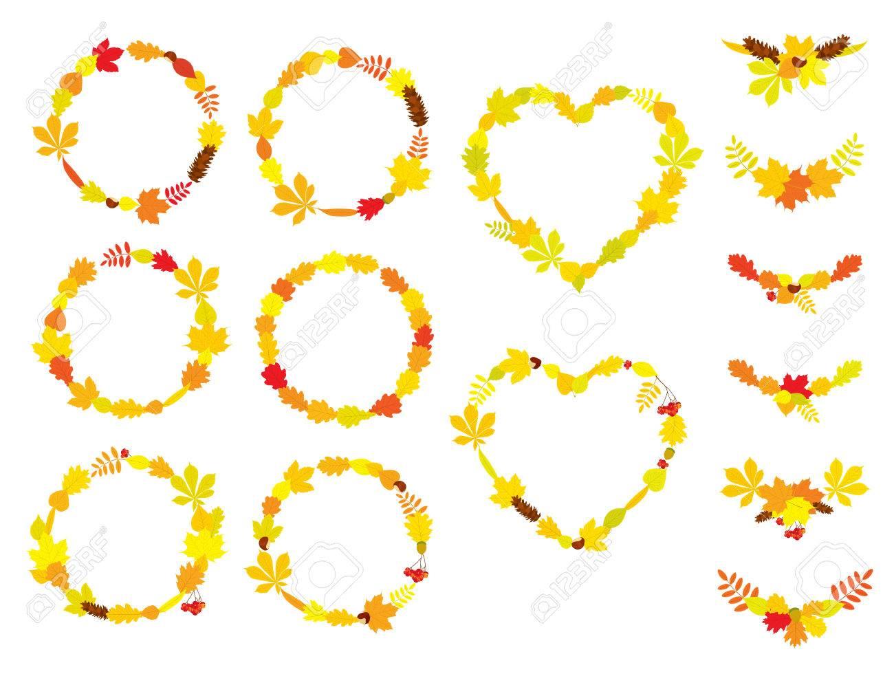 Conjunto De Vectores De Coronas Circulares Y De Forma De Corazón ...