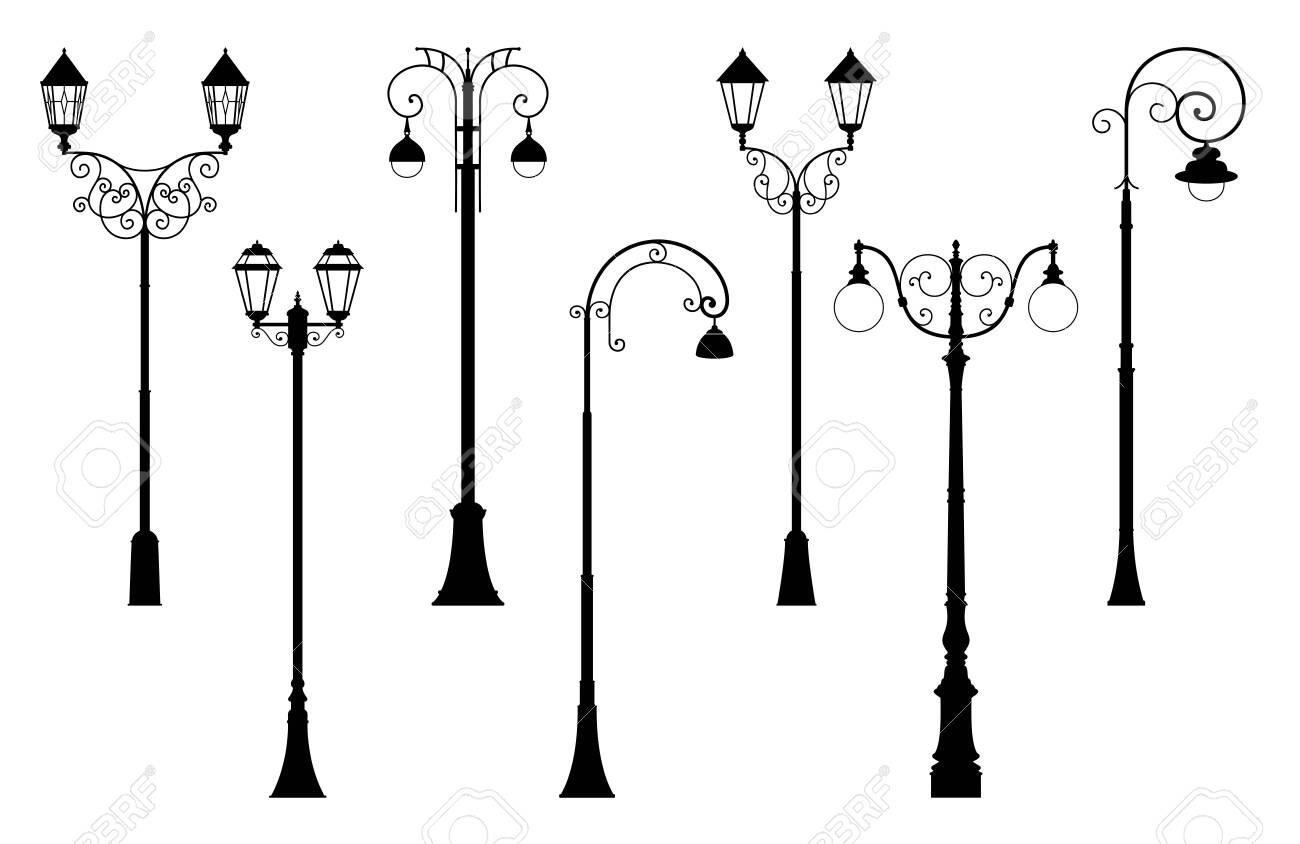 Vector set of street lantern silhouettes in retro style - 128995698