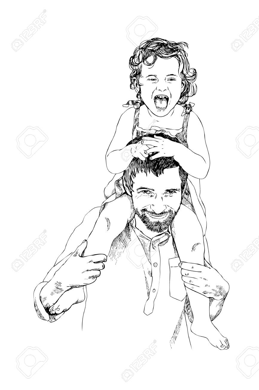Hand drawing linear sketch of father holds a small daughter on his shoulders and smiling
