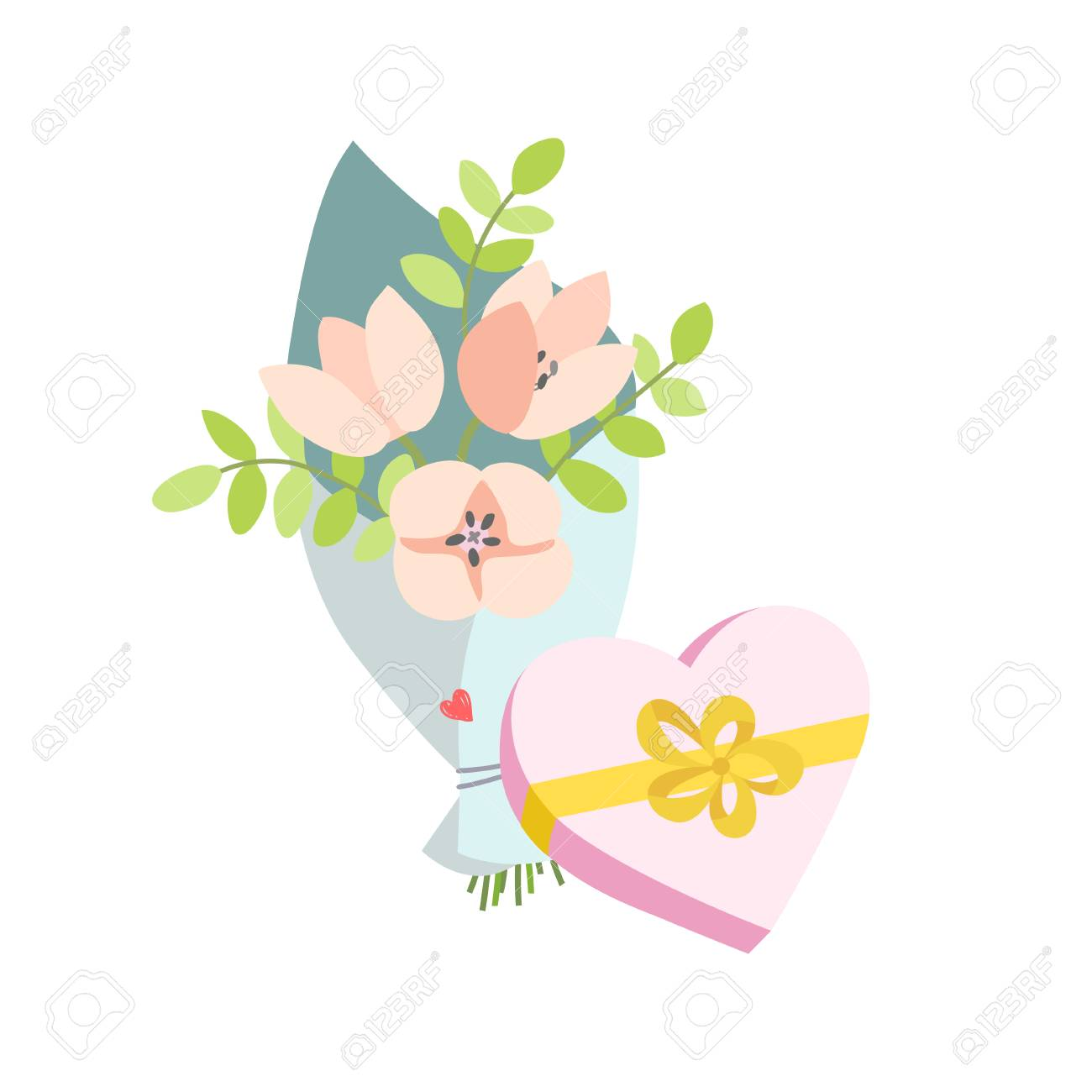Spring Bouquet Of Flowers And A Gift In The Form Of A Heart ...