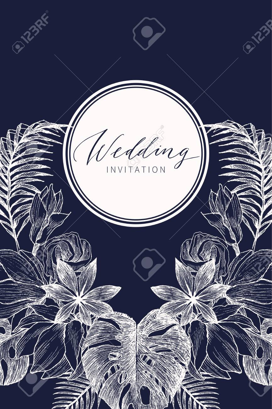 Wedding Invitation Floral Invite Card Design With Tropical Forest